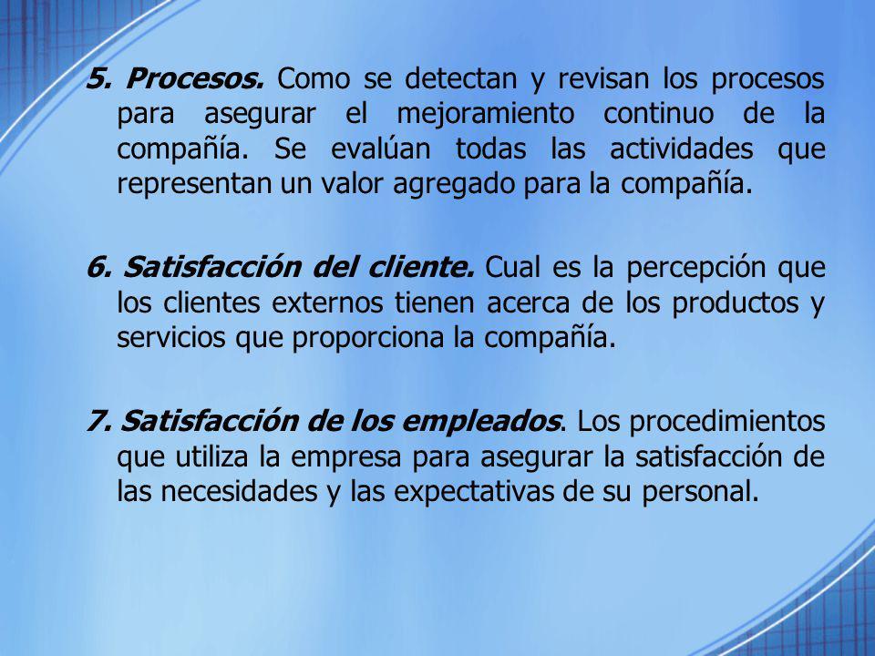 5. Procesos. Como se detectan y revisan los procesos para asegurar el mejoramiento continuo de la compañía. Se evalúan todas las actividades que repre