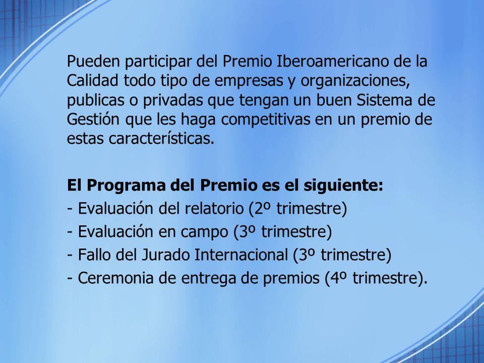 Pueden participar del Premio Iberoamericano de la Calidad todo tipo de empresas y organizaciones, publicas o privadas que tengan un buen Sistema de Ge