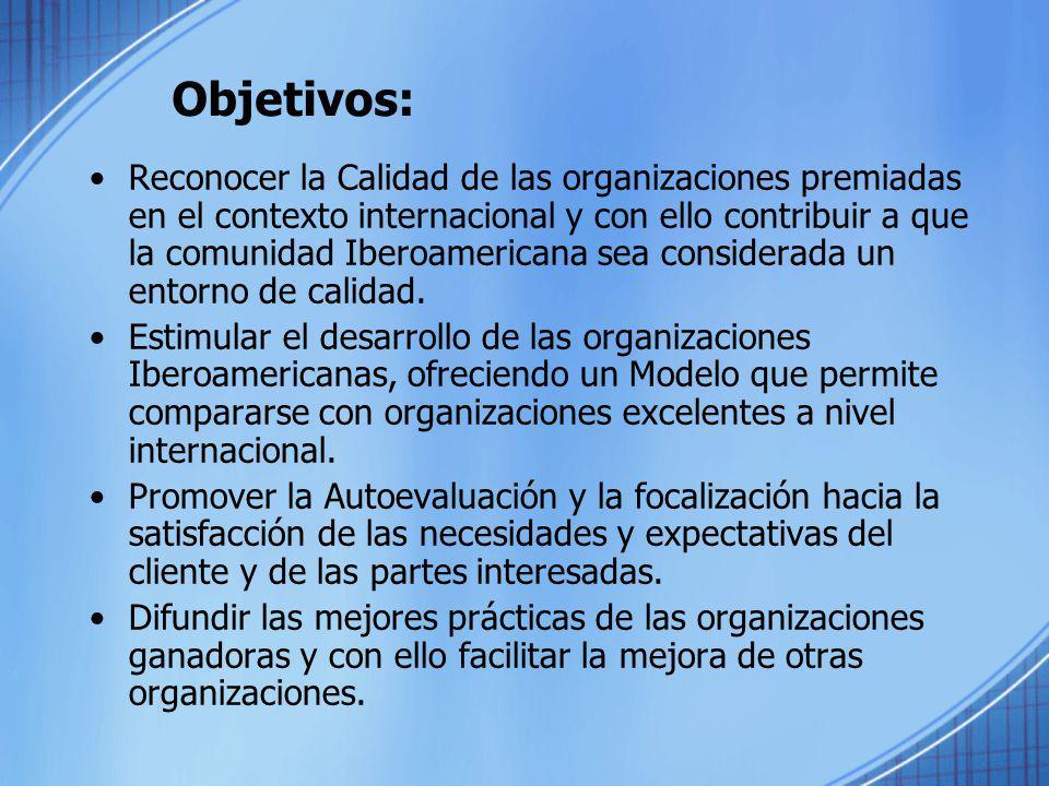 Objetivos: Reconocer la Calidad de las organizaciones premiadas en el contexto internacional y con ello contribuir a que la comunidad Iberoamericana s