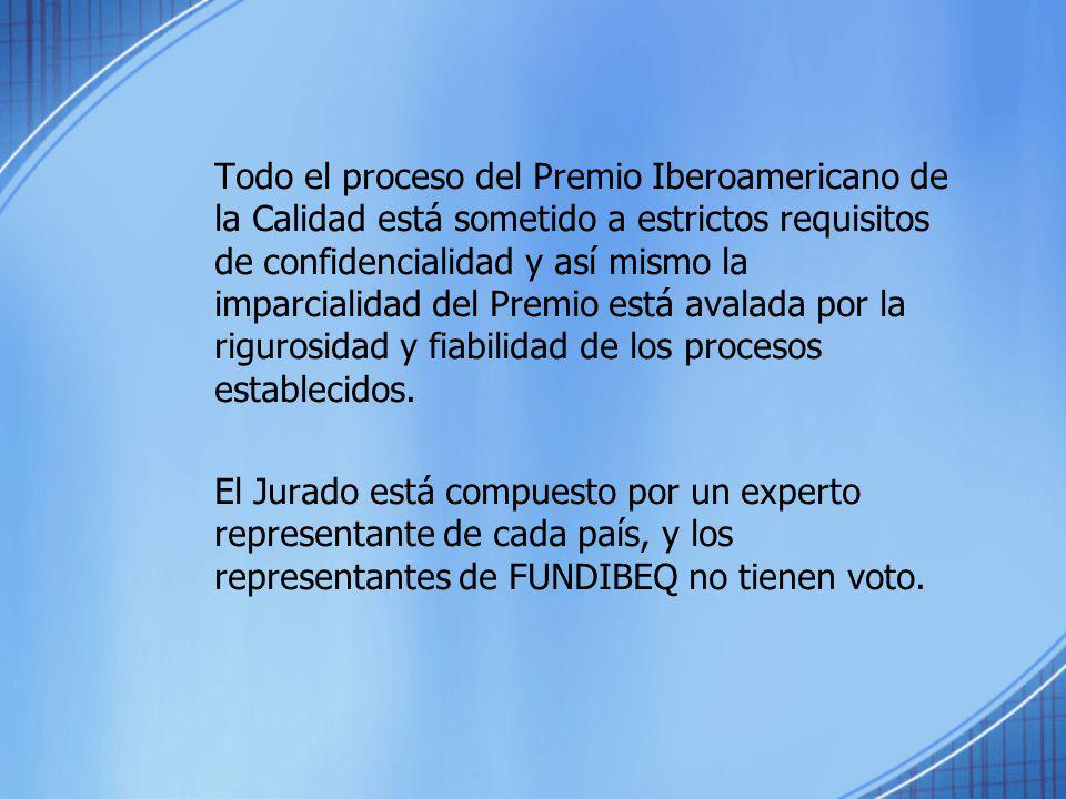 Todo el proceso del Premio Iberoamericano de la Calidad está sometido a estrictos requisitos de confidencialidad y así mismo la imparcialidad del Prem