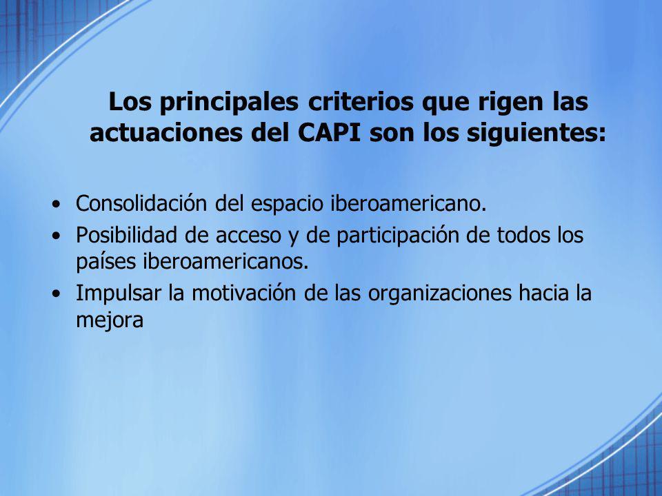 Los principales criterios que rigen las actuaciones del CAPI son los siguientes: Consolidación del espacio iberoamericano. Posibilidad de acceso y de