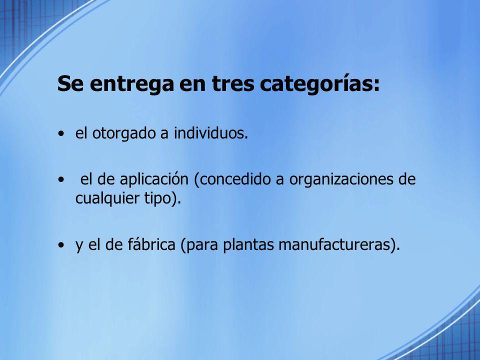 Se entrega en tres categorías: el otorgado a individuos. el de aplicación (concedido a organizaciones de cualquier tipo). y el de fábrica (para planta