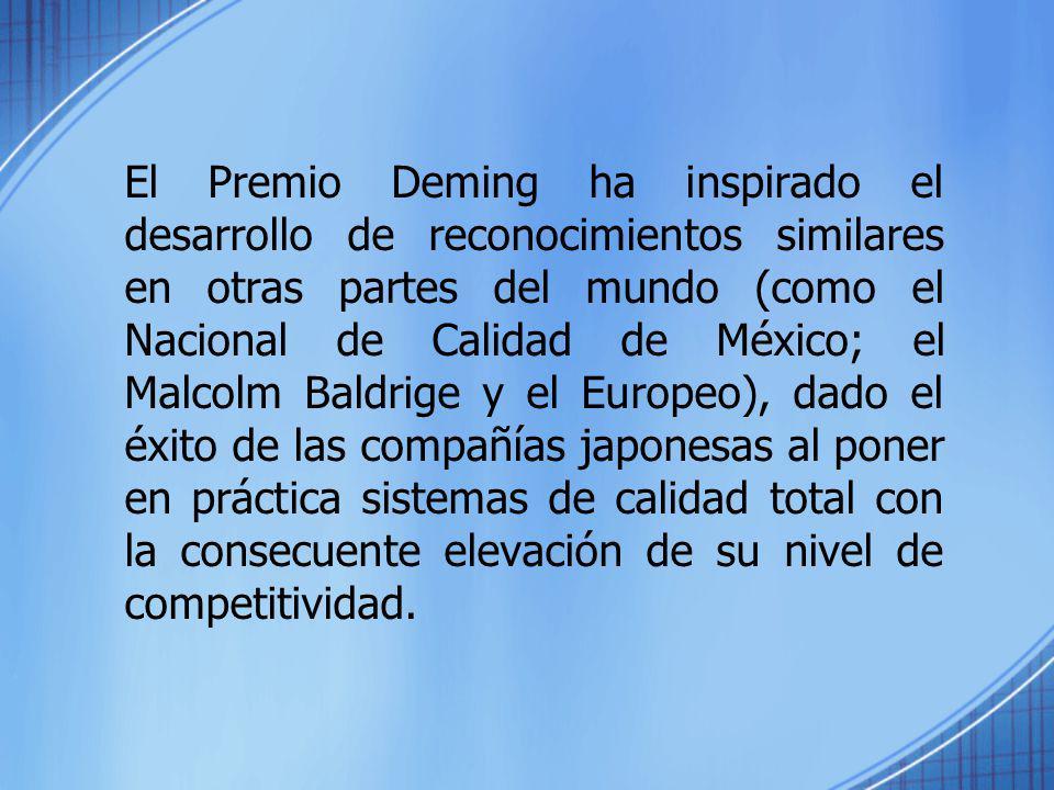 El Premio Deming ha inspirado el desarrollo de reconocimientos similares en otras partes del mundo (como el Nacional de Calidad de México; el Malcolm