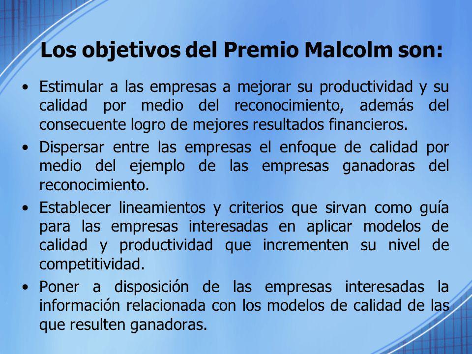 El Premio Malcolm Baldrige se entrega a empresas que participan en algunas de las siguientes tres categorías: - Manufacturas - Servicio - Empresas pequeñas Los criterios del premio se sustentan en un conjunto de valores y conceptos orientados hacía el cliente y el desempeño operacional de las organizaciones.