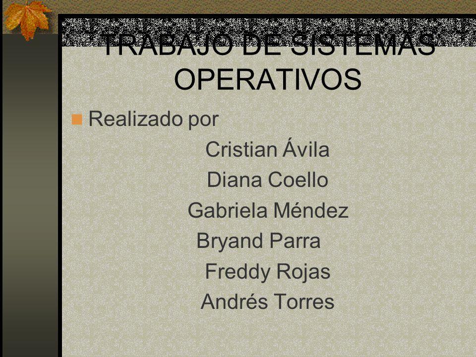 TRABAJO DE SISTEMAS OPERATIVOS Realizado por Cristian Ávila Diana Coello Gabriela Méndez Bryand Parra Freddy Rojas Andrés Torres