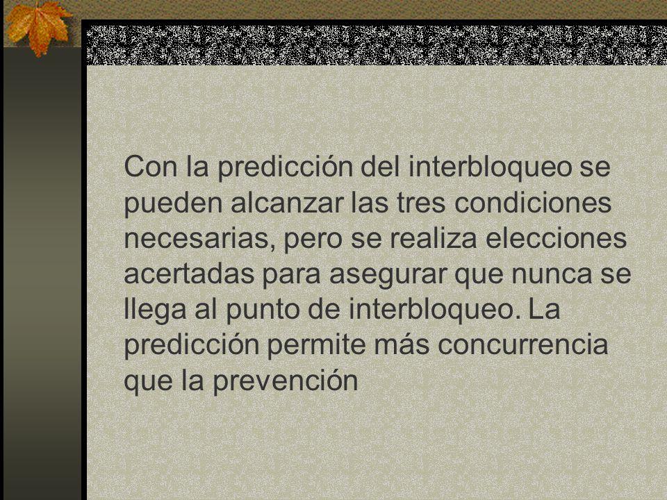 Con la predicción del interbloqueo se pueden alcanzar las tres condiciones necesarias, pero se realiza elecciones acertadas para asegurar que nunca se