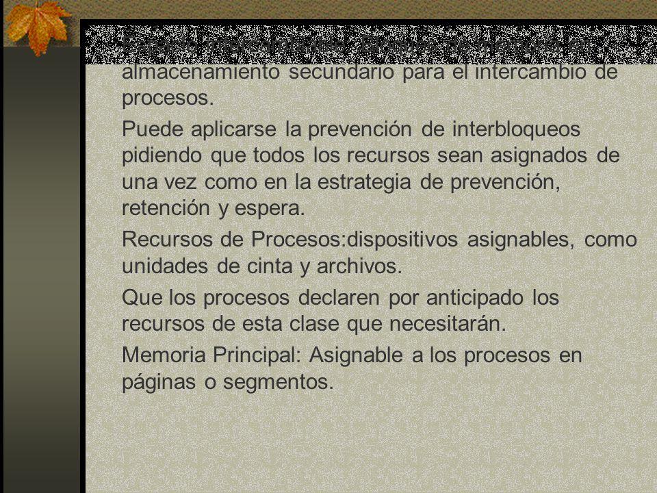 Espacio intercambiable: Bloques de memoria en almacenamiento secundario para el intercambio de procesos. Puede aplicarse la prevención de interbloqueo