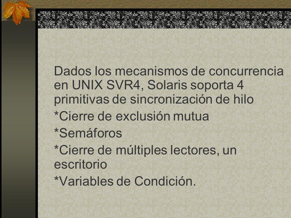 Dados los mecanismos de concurrencia en UNIX SVR4, Solaris soporta 4 primitivas de sincronización de hilo *Cierre de exclusión mutua *Semáforos *Cierr