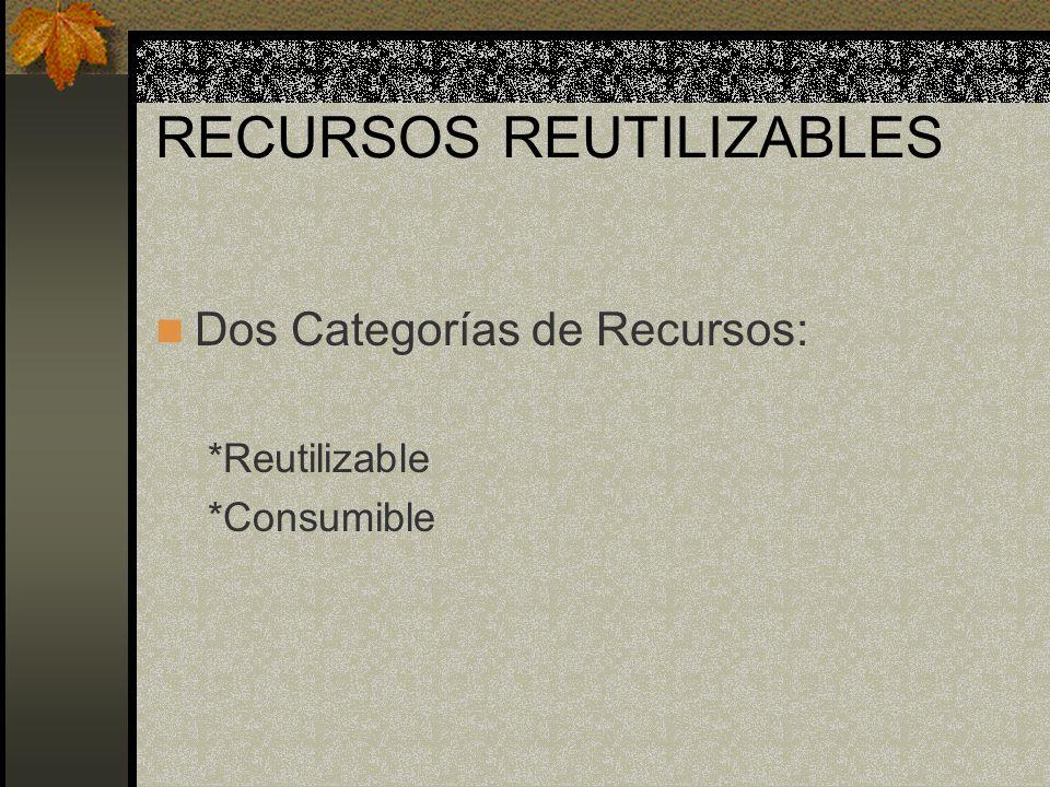 RECURSOS REUTILIZABLES Dos Categorías de Recursos: *Reutilizable *Consumible