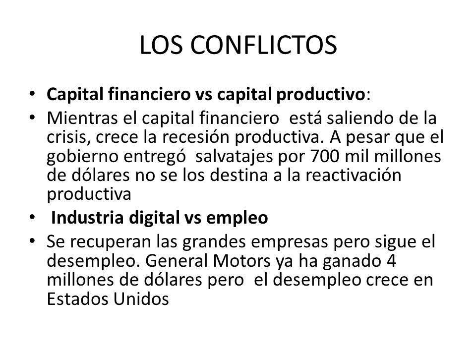 LOS CONFLICTOS Capital financiero vs capital productivo: Mientras el capital financiero está saliendo de la crisis, crece la recesión productiva.