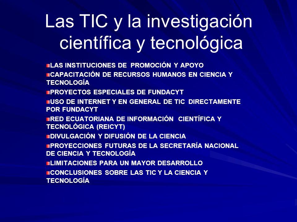 Las TIC y la investigación científica y tecnológica LAS INSTITUCIONES DE PROMOCIÓN Y APOYO CAPACITACIÓN DE RECURSOS HUMANOS EN CIENCIA Y TECNOLOGÍA PR