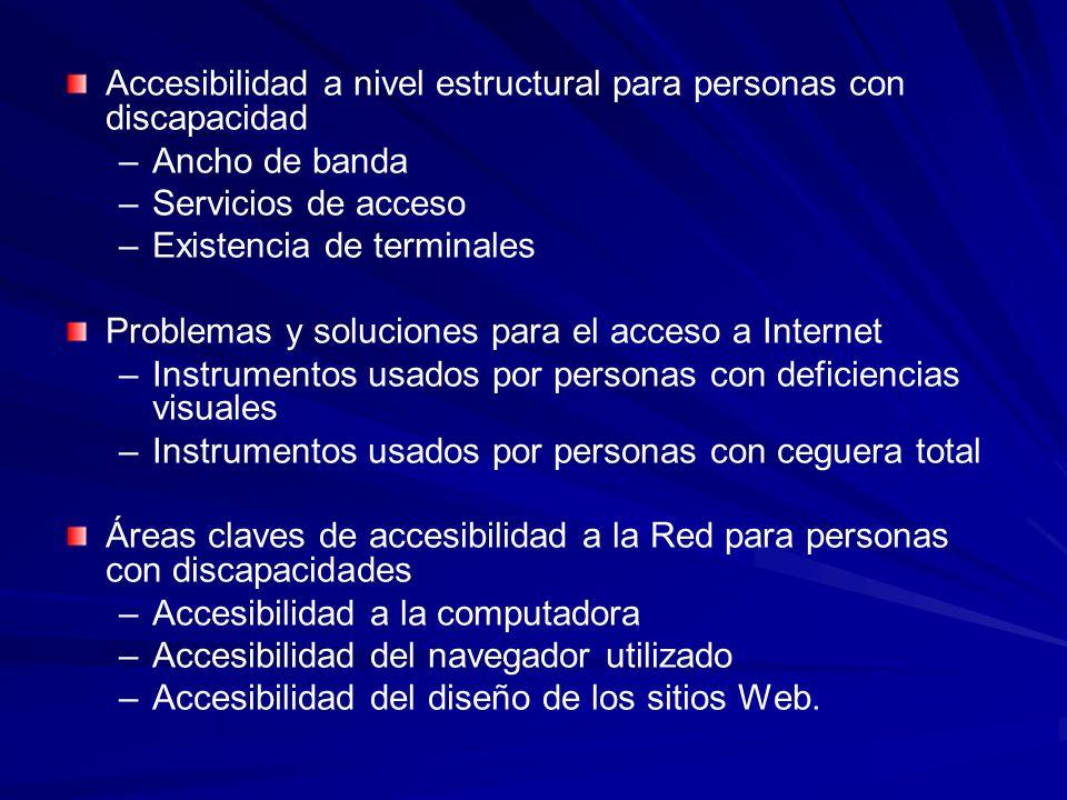 Accesibilidad a nivel estructural para personas con discapacidad – –Ancho de banda – –Servicios de acceso – –Existencia de terminales Problemas y solu