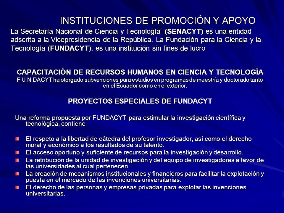 INSTITUCIONES DE PROMOCIÓN Y APOYO La Secretaría Nacional de Ciencia y Tecnología (SENACYT) es una entidad adscrita a la Vicepresidencia de la Repúbli