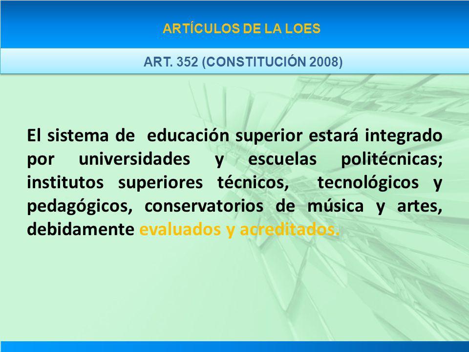ARTÍCULOS DE LA LOES ART. 352 (CONSTITUCIÓN 2008) El sistema de educación superior estará integrado por universidades y escuelas politécnicas; institu