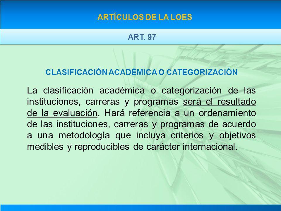 ARTÍCULOS DE LA LOES CLASIFICACIÓN ACADÉMICA O CATEGORIZACIÓN La clasificación académica o categorización de las instituciones, carreras y programas s