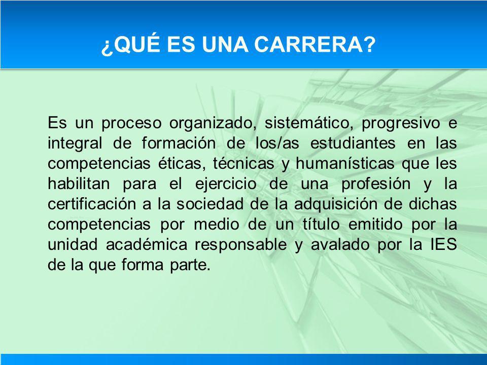 Es un proceso organizado, sistemático, progresivo e integral de formación de los/as estudiantes en las competencias éticas, técnicas y humanísticas qu