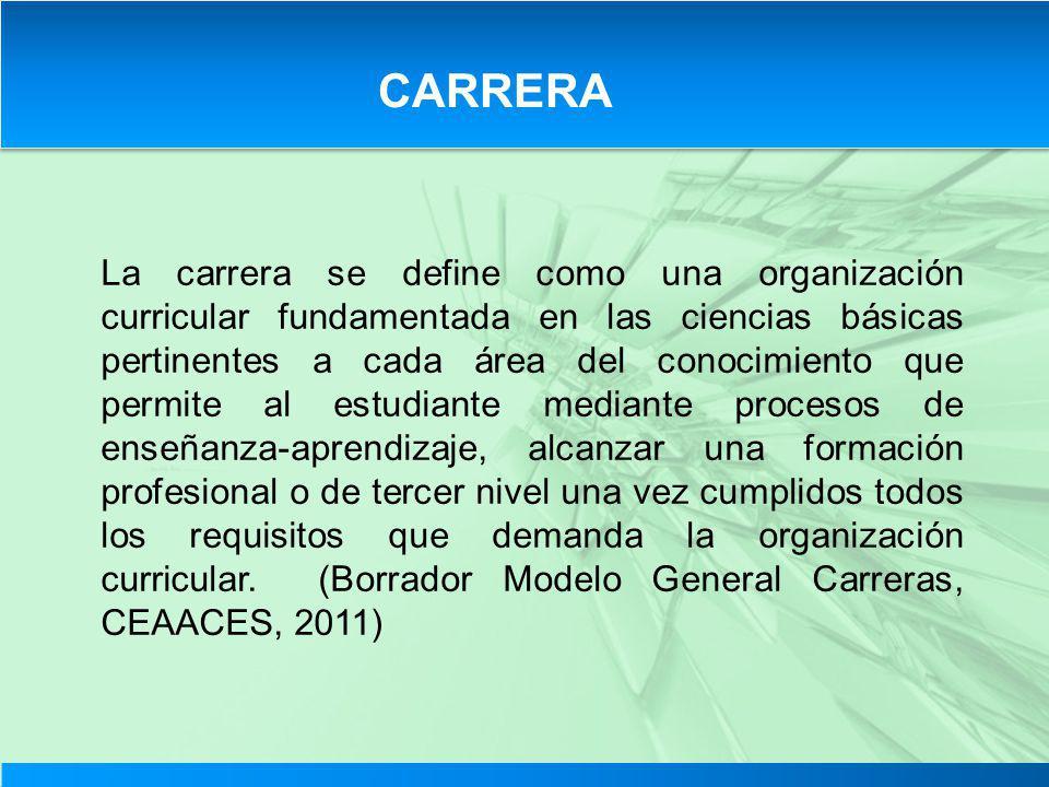 CARRERA La carrera se define como una organización curricular fundamentada en las ciencias básicas pertinentes a cada área del conocimiento que permit
