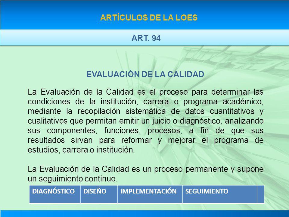 ARTÍCULOS DE LA LOES EVALUACIÓN DE LA CALIDAD La Evaluación de la Calidad es el proceso para determinar las condiciones de la institución, carrera o p