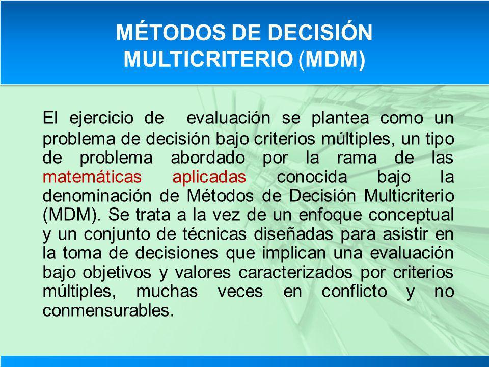 El ejercicio de evaluación se plantea como un problema de decisión bajo criterios múltiples, un tipo de problema abordado por la rama de las matemátic