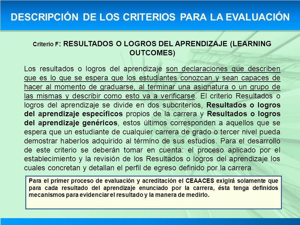 Criterio F : RESULTADOS O LOGROS DEL APRENDIZAJE (LEARNING OUTCOMES) Los resultados o logros del aprendizaje son declaraciones que describen que es lo