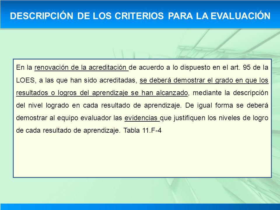 En la renovación de la acreditación de acuerdo a lo dispuesto en el art. 95 de la LOES, a las que han sido acreditadas, se deberá demostrar el grado e