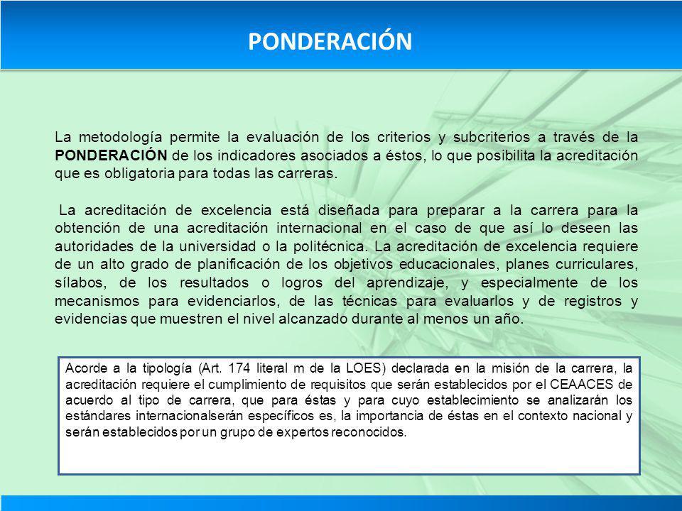 La metodología permite la evaluación de los criterios y subcriterios a través de la PONDERACIÓN de los indicadores asociados a éstos, lo que posibilit