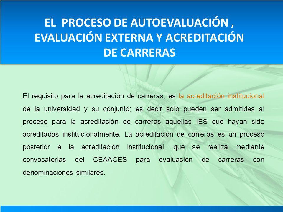EL PROCESO DE AUTOEVALUACIÓN, EVALUACIÓN EXTERNA Y ACREDITACIÓN DE CARRERAS El requisito para la acreditación de carreras, es la acreditación instituc