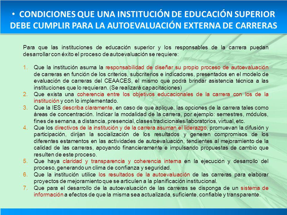 CONDICIONES QUE UNA INSTITUCIÓN DE EDUCACIÓN SUPERIOR DEBE CUMPLIR PARA LA AUTOEVALUACIÓN EXTERNA DE CARRERAS Para que las instituciones de educación