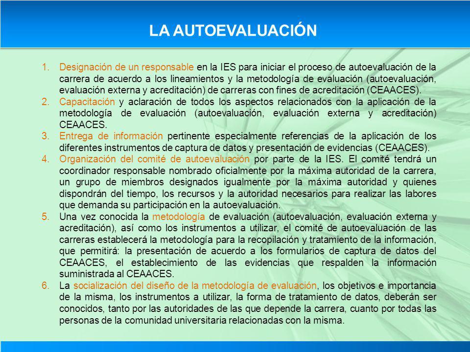 LA AUTOEVALUACIÓN 1.Designación de un responsable en la IES para iniciar el proceso de autoevaluación de la carrera de acuerdo a los lineamientos y la