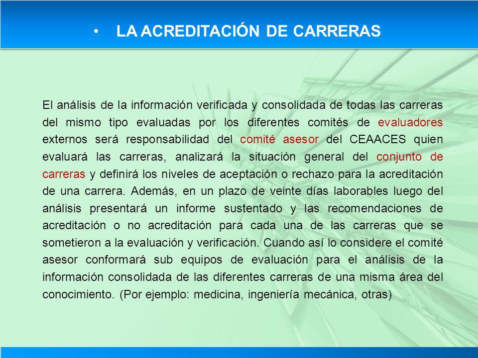LA ACREDITACIÓN DE CARRERAS El análisis de la información verificada y consolidada de todas las carreras del mismo tipo evaluadas por los diferentes c