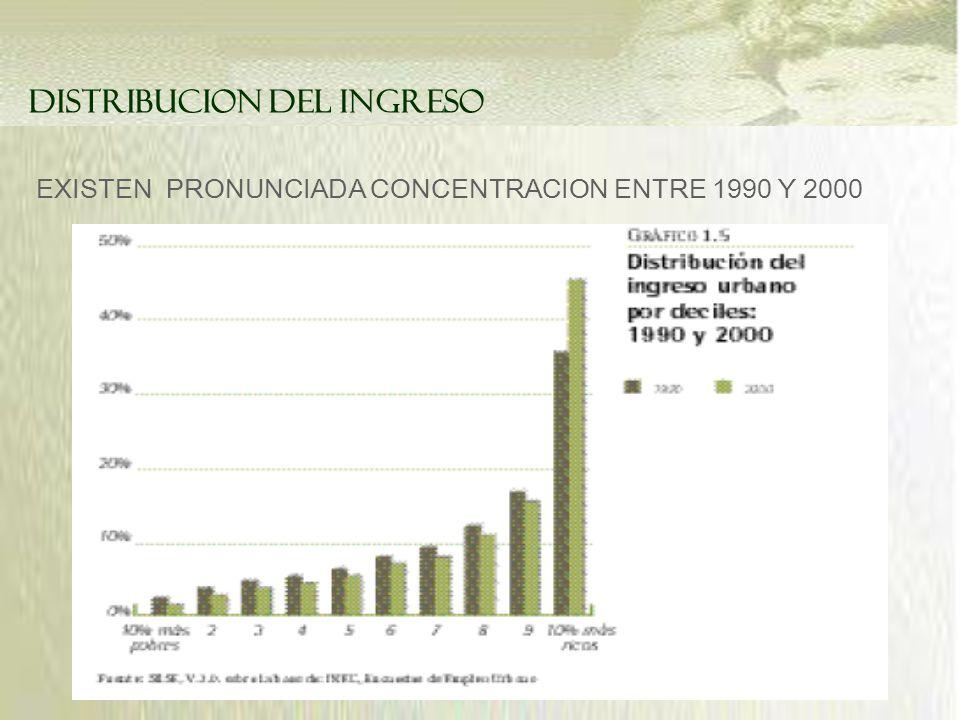 EXISTEN PRONUNCIADA CONCENTRACION ENTRE 1990 Y 2000 DISTRIBUCION DEL INGRESO