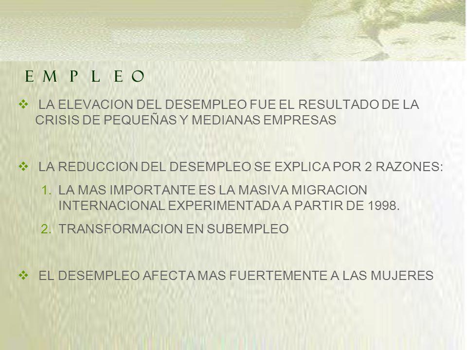 LA ELEVACION DEL DESEMPLEO FUE EL RESULTADO DE LA CRISIS DE PEQUEÑAS Y MEDIANAS EMPRESAS LA REDUCCION DEL DESEMPLEO SE EXPLICA POR 2 RAZONES: 1.LA MAS IMPORTANTE ES LA MASIVA MIGRACION INTERNACIONAL EXPERIMENTADA A PARTIR DE 1998.