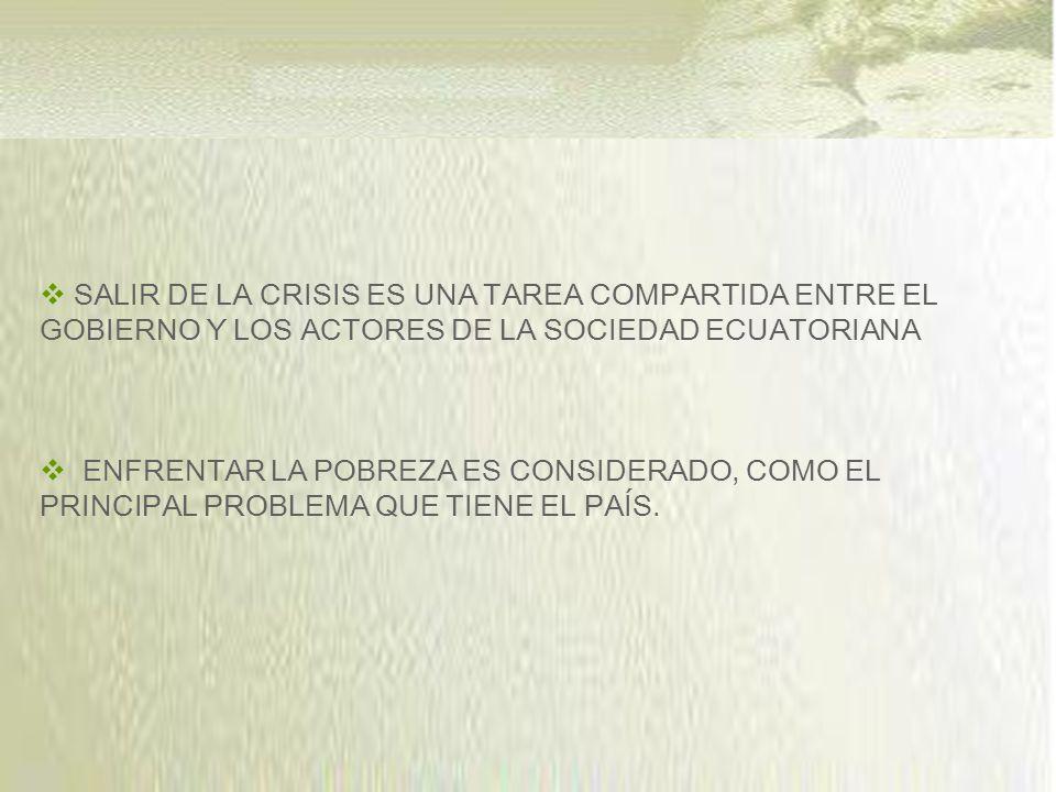 SALIR DE LA CRISIS ES UNA TAREA COMPARTIDA ENTRE EL GOBIERNO Y LOS ACTORES DE LA SOCIEDAD ECUATORIANA ENFRENTAR LA POBREZA ES CONSIDERADO, COMO EL PRINCIPAL PROBLEMA QUE TIENE EL PAÍS.
