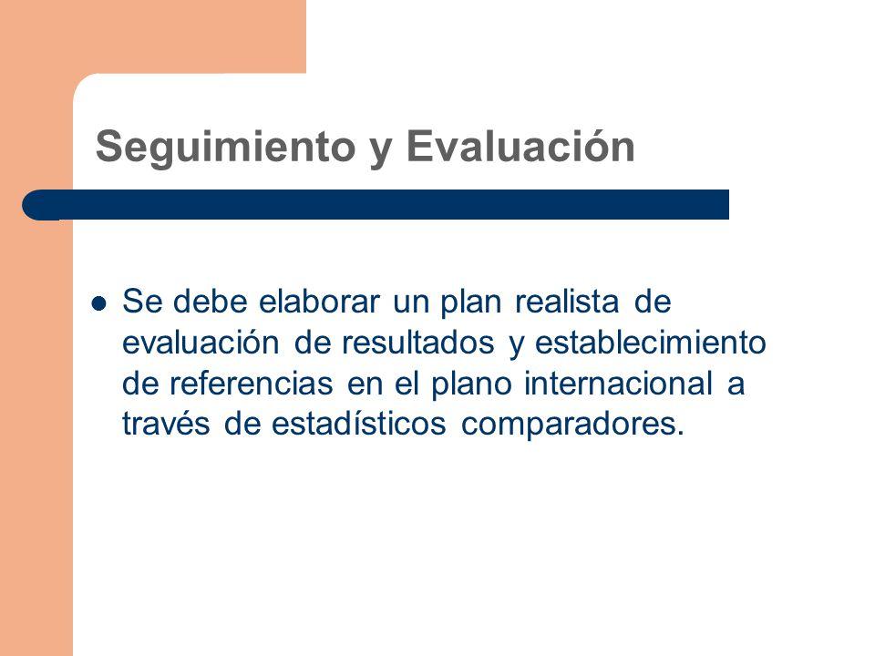 Seguimiento y Evaluación Se debe elaborar un plan realista de evaluación de resultados y establecimiento de referencias en el plano internacional a través de estadísticos comparadores.