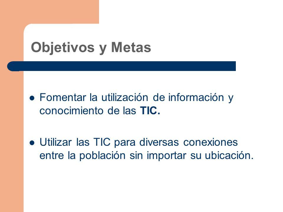 Objetivos y Metas Fomentar la utilización de información y conocimiento de las TIC.