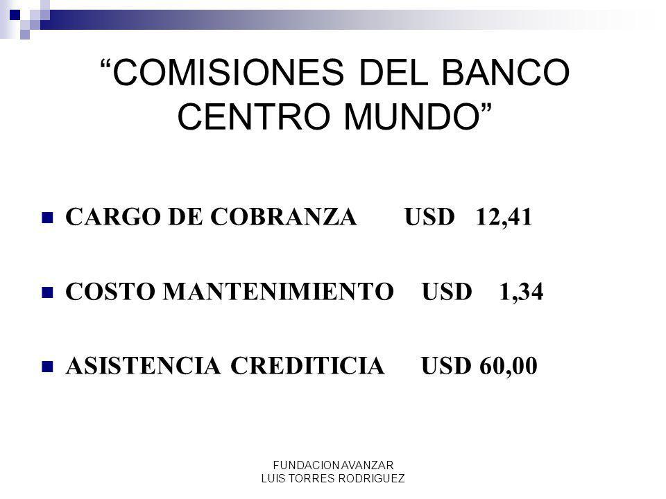 FUNDACION AVANZAR LUIS TORRES RODRIGUEZ COMISIONES DEL BANCO CENTRO MUNDO CARGO DE COBRANZA USD 12,41 COSTO MANTENIMIENTO USD 1,34 ASISTENCIA CREDITIC