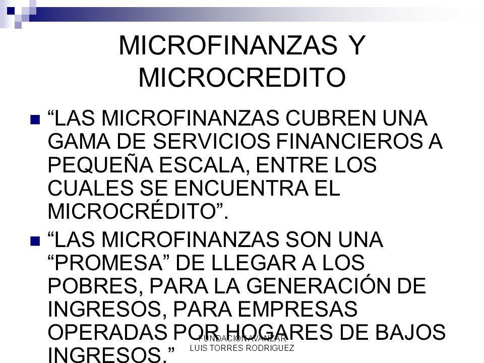 FUNDACION AVANZAR LUIS TORRES RODRIGUEZ MICROFINANZAS Y MICROCREDITO LAS MICROFINANZAS CUBREN UNA GAMA DE SERVICIOS FINANCIEROS A PEQUEÑA ESCALA, ENTR