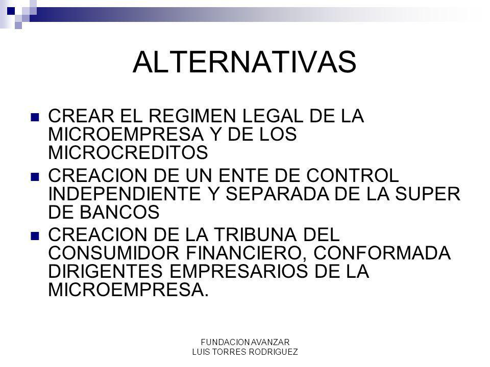 FUNDACION AVANZAR LUIS TORRES RODRIGUEZ ALTERNATIVAS CREAR EL REGIMEN LEGAL DE LA MICROEMPRESA Y DE LOS MICROCREDITOS CREACION DE UN ENTE DE CONTROL I