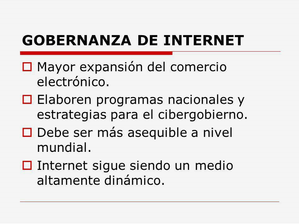 GOBERNANZA DE INTERNET Mayor expansión del comercio electrónico. Elaboren programas nacionales y estrategias para el cibergobierno. Debe ser más asequ