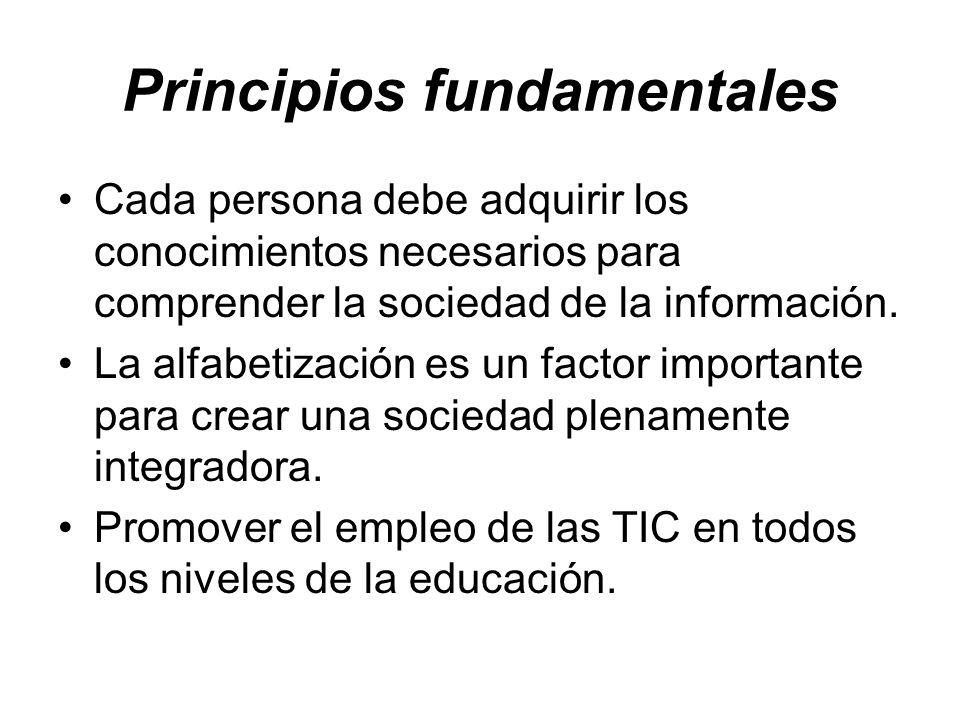 Principios fundamentales Cada persona debe adquirir los conocimientos necesarios para comprender la sociedad de la información. La alfabetización es u