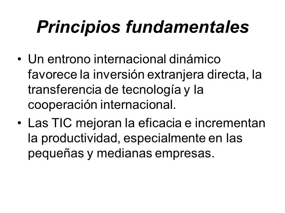 Principios fundamentales Un entrono internacional dinámico favorece la inversión extranjera directa, la transferencia de tecnología y la cooperación i