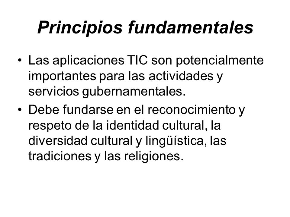 Principios fundamentales Las aplicaciones TIC son potencialmente importantes para las actividades y servicios gubernamentales. Debe fundarse en el rec