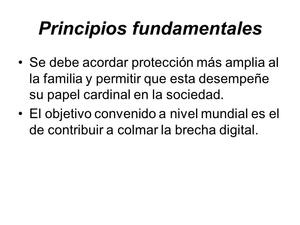 Principios fundamentales Se debe acordar protección más amplia al la familia y permitir que esta desempeñe su papel cardinal en la sociedad. El objeti