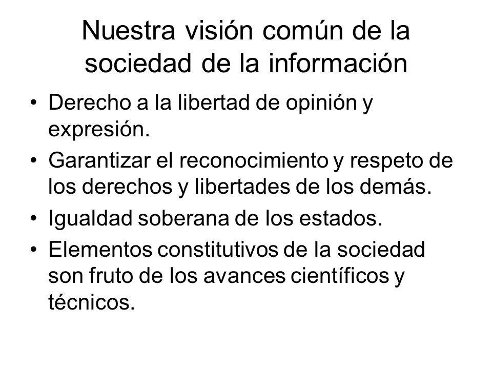 Nuestra visión común de la sociedad de la información Derecho a la libertad de opinión y expresión. Garantizar el reconocimiento y respeto de los dere