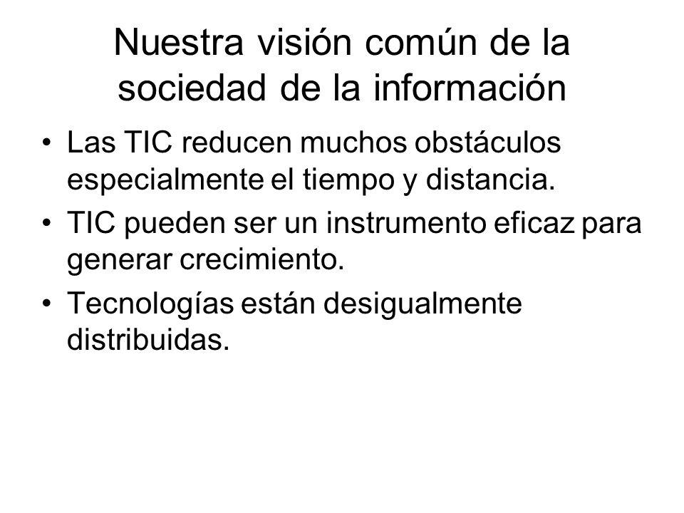 Nuestra visión común de la sociedad de la información Las TIC reducen muchos obstáculos especialmente el tiempo y distancia. TIC pueden ser un instrum