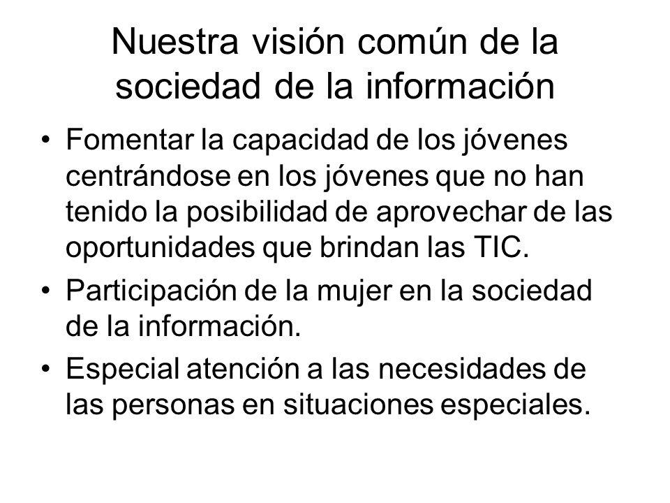 Nuestra visión común de la sociedad de la información Fomentar la capacidad de los jóvenes centrándose en los jóvenes que no han tenido la posibilidad