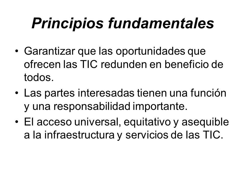 Principios fundamentales Garantizar que las oportunidades que ofrecen las TIC redunden en beneficio de todos. Las partes interesadas tienen una funció