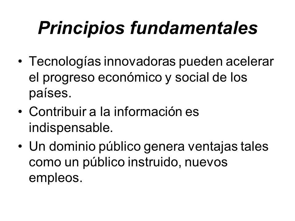 Principios fundamentales Tecnologías innovadoras pueden acelerar el progreso económico y social de los países. Contribuir a la información es indispen