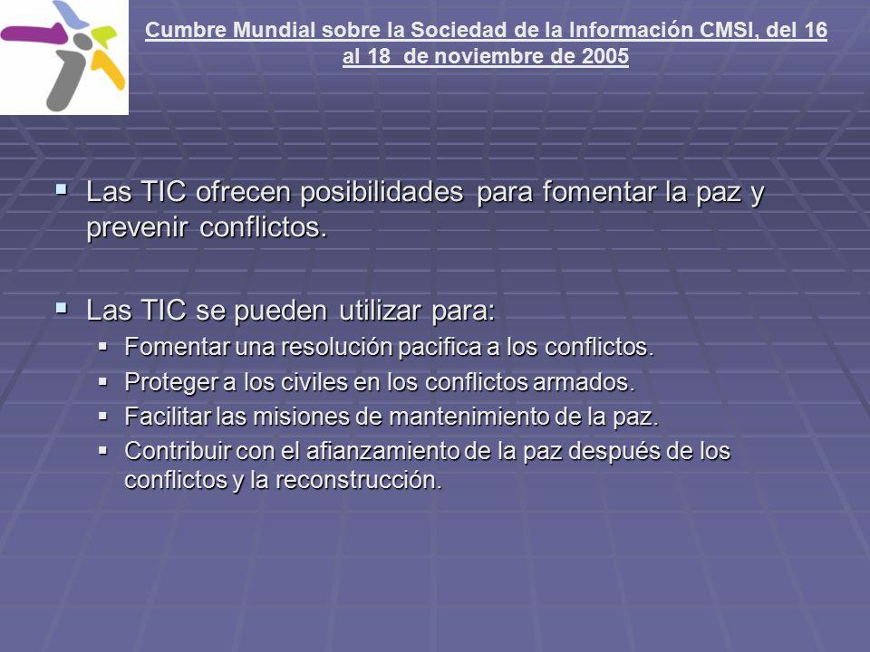 Las TIC ofrecen posibilidades para fomentar la paz y prevenir conflictos.