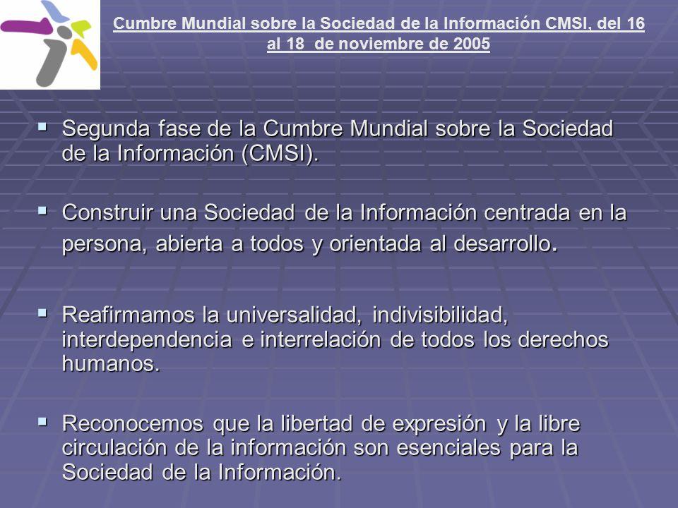 Cumbre Mundial sobre la Sociedad de la Información CMSI, del 16 al 18 de noviembre de 2005 Cumbre de Túnez constituye una oportunidad excepcional de crear mayor conciencia acerca de las ventajas TIC (Tecnologías de la Información y la Comunicación).